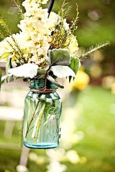 Antique Aqua Blue Ball Mason Jars - Wedding Centerpieces / Flowers / Candles / Collections / Canning  Centro de mesa  boda