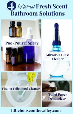 four natural  fresh scent bathroom solution Diy Home Cleaning, Homemade Cleaning Products, Natural Cleaning Products, Cleaning Hacks, Spring Cleaning, Household Products, Household Chores, Household Cleaners, Cleaning Supplies