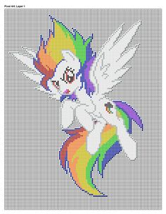 My Little Pony super rainbow dash perler bead design