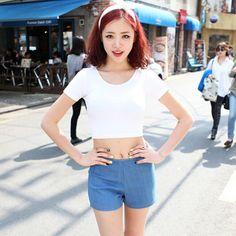 Barato E126 2015 Primavera Verão Mulheres Roupas Cortadas Tops Bottoming Halter Manga Curta Colheita Cintura Frete Grátis, Compro Qualidade Camisetas diretamente de fornecedores da China: