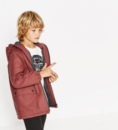 Rubberized parka-NEW IN-BOY   4-14 years-KIDS   ZARA United Kingdom Love this colour for Ell 😍