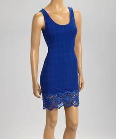 Loving this Blue Lace-Trim Sleeveless Bodycon Dress on #zulily! #zulilyfinds