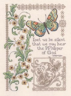 Imaginating Whisper Of God - Cross Stitch Pattern. Let us be silent that we may hear the whisper of God - Emerson. Model stitched on 14ct. natural Aida using DM