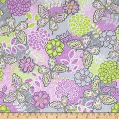 Butterfly Kisses Flannel Patchwork Pink from @fabricdotcom  Designed by Fresh Designs for Henry Glass & Co., this double napped (brushed on both sides) flannel fabric is perfect for quilting, apparel and home decor accents. Colors include white, shades of grey, shades of green, and shades of pink.