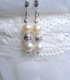 Bridal jewel earring silver and bred pearls  by arterabridalveil, $17.00