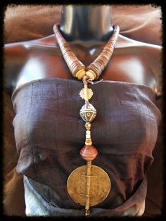 Ashanti Cast Bronze Amulet Necklace 'Akan' Long by TribalZen, $119.99