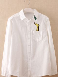 giraffe embroidered shirt 2019 clothing clothing labels clothing patches clothing wholesale flower clothing fly shirts shirts for ladies shirts sunshine coast style clothing tee shirts clothing Sommer Garten Hochzeits Kleider Embroidery On Clothes, Shirt Embroidery, Embroidered Clothes, Embroidery Fashion, Embroidery Patterns, Diy Shirt Printing, Printed Shirts, Shirt Print Design, Shirt Designs