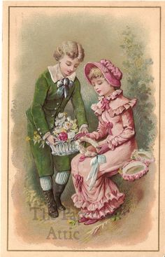 Victorian Couple with Flower Basket Antique Vintage French Embossed Chromo Card
