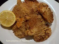 Μανιτάρια τηγανητά - cretangastronomy.gr Vigan, Greek Recipes, Crete, Pot Roast, Side Dishes, Grains, Stuffed Mushrooms, Pork, Meat