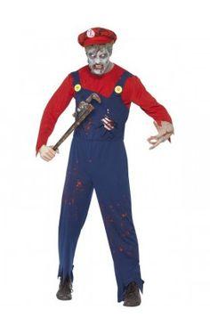 Disfraz de Mario zombie para hombre