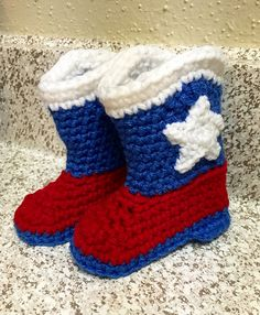 Texas style crochet cowboy baby boots. Free pattern at http://www.ravelry.com/patterns/library/baby-cowboy-booties