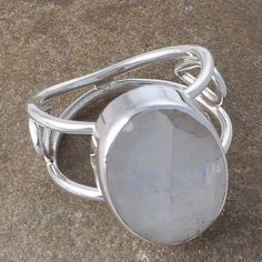 EXCLUSIVE 925 SOLID STERLING SILVER RAINBOW MOONSTONE FANCY RING 4.86g R01141 #Handmade #RING