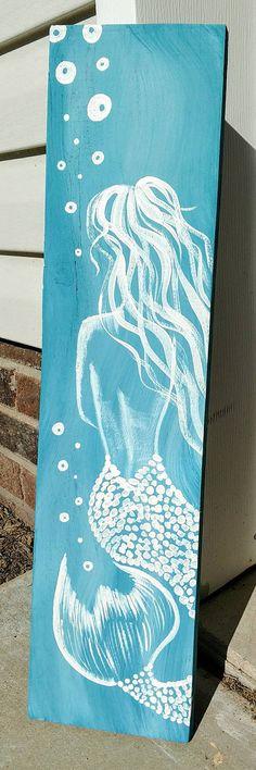 Mermaid Painting on Wood 23x6