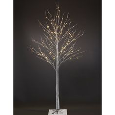 This 7-foot silver artificial birch Christmas tree comes with 96 LED lights to light up your holidays. Set the mood by hanging your ornaments or use for any  festive occasion. Hardly any assembly required and sets up quickly.