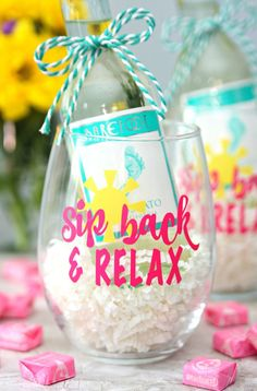 Sip Back and Relax Wine Glasses - Make this summery wine glass with your Cricut - DIY wine glass - wine gifts