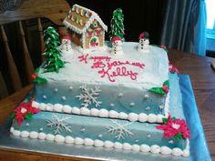 December birthday cake with Graham cracker house