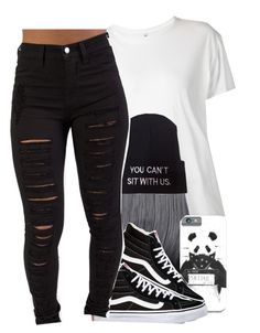 """""""black and White ☺"""" by jchristina ❤ liked on Polyvore featuring R13 and Vans"""
