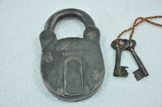 Old Iron Solid Heavy Handcrafted Hobb's & Co. Padlock , Nice Patina