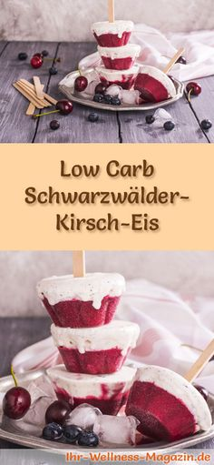 Low Carb Schwarzwälder-Kirsch-Eis am Stiel selber machen – gesundes Rezept Recipe for Low Carb Black Forest Cherry Ice Cream – a simple ice cream recipe for low calorie, low carbohydrate and healthy ice cream with no added sugar … Low Carb Sweets, Low Carb Desserts, Easy Desserts, Low Carb Recipes, Cherry Popsicles, Healthy Popsicles, Low Carb Ice Cream, Healthy Ice Cream, Easy Ice Cream Recipe