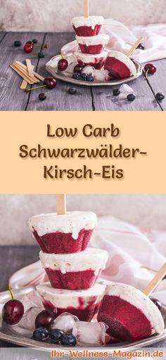 Rezept für Low Carb Schwarzwälder-Kirsch-Eis - ein einfaches Eisrezept für kalorienreduzierte, kohlenhydratarme und gesunde Eiscreme ohne Zusatz von Zucker ...