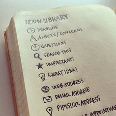 Ideas: Create an Icon Library Oh, these could make the cutest Bullet Journal icons ever! (If I can draw them, that's it.)Oh, these could make the cutest Bullet Journal icons ever! (If I can draw them, that's it. Bullet Journal Icons, Planner Bullet Journal, How To Bullet Journal, My Journal, Bullet Journals, How To Organise Bullet Journal, Bullet Journal Legend, Journal Notebook, Moleskine