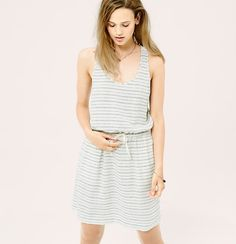 "Laid-back pretty, our designers love the natural look of this breezy striped fabric. Scoop neck. Sleeveless. Elasticized drawstring waist. Slash pockets. Racerback. 18 1/2"" from natural waist. <i>Welcome to Lou & Grey, a line of easygoing styles for everyday.</i>"