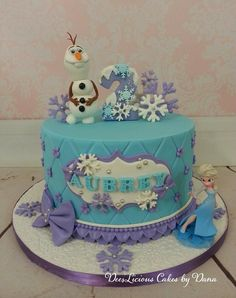 Frozen, Elsa and Olaf – Dees'Licious Cakes by Dana – birthdaycakeideas Elsa Birthday Cake, Frozen Themed Birthday Cake, Frozen Theme Cake, Frozen Themed Birthday Party, Disney Frozen Birthday, Themed Cakes, Disney Frozen Cake, Frozen Fondant Cake, 2nd Birthday