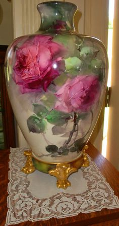 Antique Belleek Huge Vase Hand Painted Roses Biscoff or Aulich style from theverybest on Ruby Lane