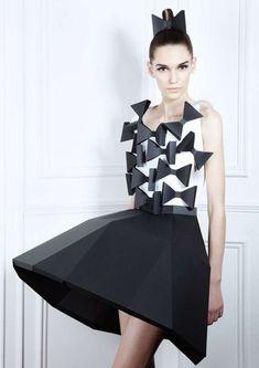 Paper Couture - sculptural paper dress; 3D geometric fashion; alternative materials; experimental fashion design // 'Pratt + Paper & Ralph' Pucci Exhibition