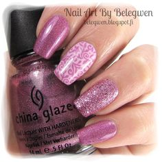 Nail Art by Belegwen: Electra Magenta, Essie Go Ginza and Depend Primrose. Stamping plate is Hehe 004.