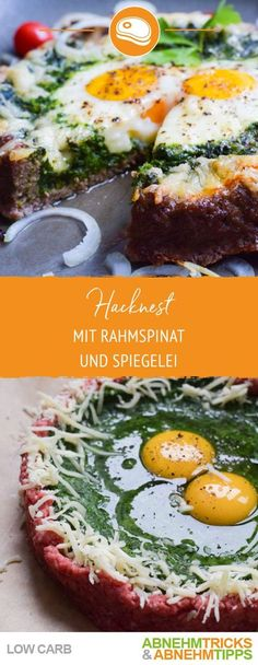 lowcarb Hackfleisch Spinat Nest mit spiegelei