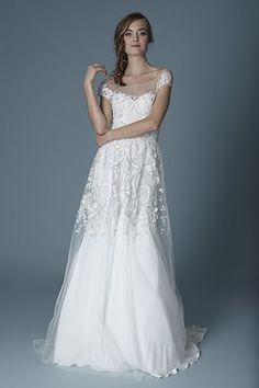 pretty  wedding dresses 2016 lace sleeves long wedding dress 2017