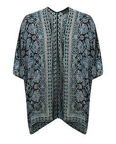 Black Floral Print Border V Back Kimono  | New Look