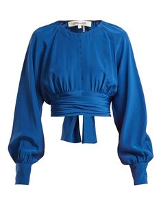 Diane Von Furstenberg Tie Waist Cropped Blouse In Blue Silk Tops For Women, Blouses For Women, Stylish Work Outfits, Pretty Outfits, Diane Von Furstenberg, Top Chic, Dolly Fashion, Fancy Tops, Dress Indian Style