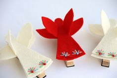 Be My Angel, Holiday Gift Set Red and White Wool Felt Clothespin Magnets Set of 2. $14.75, via Etsy.