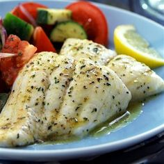 Recipe for Garlic Herb Tilapia. Mild, flaky tilapia, seasoned with a savory herb butter, baked to perfection. Fish Dishes, Seafood Dishes, Fish And Seafood, Main Dishes, Fish Recipes, Seafood Recipes, Cooking Recipes, Healthy Recipes, Healthy Tilapia Recipes