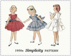 1950s Children's Pattern - Simplicity 4273 Sewing Pattern - Girls' One-Piece Dress - Size 4 Bust 23 - Full Skirt, Cap Sleeve, Sash by EightMileVintageSews on Etsy
