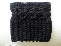 Crochet+boot+cuffs+in+Black+with+broomstick+lace+by+hobbyhooked,+$15.00