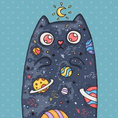 Cartoon Cute Cat With The Universe Inside. Cartoon Illustration In Comic Trendy Style. - Cartoon cute cat with the universe insid… Cartoon Wallpaper, Wallpaper Space, Cat Wallpaper, Cartoon Cartoon, Space Cat, Creative Illustration, Cute Illustration, Gravure Illustration, Dibujos Cute