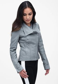 Bree Lamb Leather Jacket in Chambray