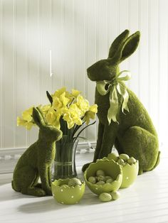 Moss Bunnies add a spring ribbon, florals and eggs shelley b home and holiday