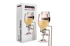 Get Modern Wine Glass Holders - Stakes Set of 4 by Bartender online From PurpleSpoilz at unique price. Bartender Set, Wine Glass Holder, Camping Gifts, Bar Accessories, White Wine, Barware, Alcoholic Drinks, Picnic, Canning