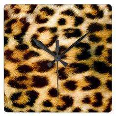 Leopard print full textured wall clock.