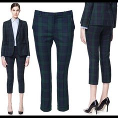 Zara Green Tartan Suit Absolutely in love with this tartan!  Great faux leather detailing.  Selling suit as a set.  In good condition, shows minor signs of wear (piling) and missing a button on the blazer.  Easily fixable. Zara Jackets & Coats Blazers
