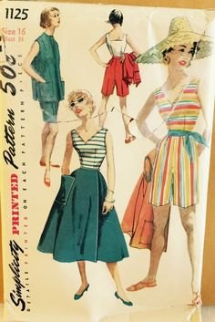 RARE Vintage 1125 Simplicity (early 1960s).  Cute top, skirt, shorts and sleeveless cover up.  Size 16, Bust 34 (size 12 today).  Uncut & FF by ThePatternParlor on Etsy