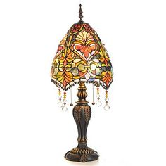 """Tiffany Style 30.5"""" Briannes Stained Glass Table Lamp w/Beaded Shade"""