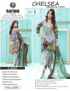 Safwa Brand - Price PKR2399.00 only - Free Delivery! - Cash on Delivery - 30 Days Returns - CA-002 - CHELSEA COLLECTION - 3 PIECE SUIT  #safwa #onlineshopping #clothing #shalwarkameez #digital #pakistani #ladiesclothing #brand #dresses #shoponline