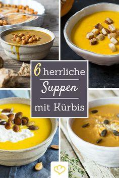 Wenn es draußen kalt und ungemütlich ist, was gibt es da schöneres als eine wärmende Kürbissuppe? Ob mit Kichererbsen, vegan, pikant oder Orange - hier kommen die besten Suppen-Rezepte rund um Kürbis!