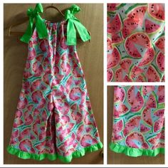 Watermelon fun for spring a summer!  This 5t Capri length romper is ready!