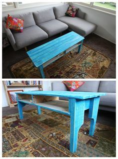 #Painted, #PalletTable, #RecycledPallet I made this coffee table using only one pallet. I wanted to make a rustic, beach house coffee table and this was the outcome. I painted it with three coats or 3 different blues then sanded back to look rustic and aged.